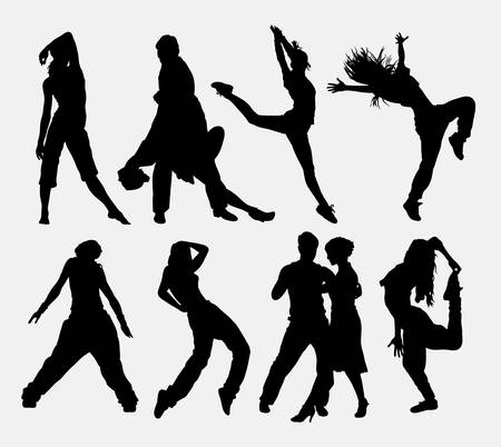 cool man: Cool dancing 4, man and woman dancer profession activity silhouette. Good use for symbol, web icon, logo, sign, sticker, game elements, or any design you want. Easy to use.