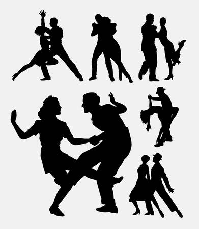 duet: Tango salsa couple 1 dancer silhouette. Good use for symbol, logo, web icon, mascot, sticker, sign, or any design you want. Easy to use.