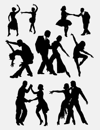 dancer male: Tango salsa 2 male and female dancer silhouette. Good use for symbol, web icon, logo, mascot, sticker, or any design you want. Easy to use.