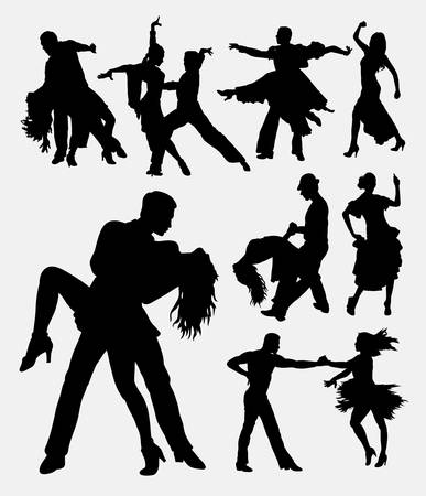 modern  dance: Tango salsa 3, couple male and female modern dance. Good use for symbol, web icon, logo, mascot, sign, or any design you want. Easy to use.