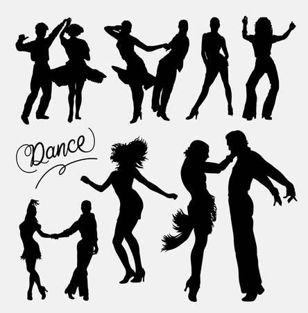 Tango salsa 4, couple heureux silhouette événement de danse. Bonne utilisation pour le symbole, logo, icône web, mascotte, autocollant, ou de toute conception que vous voulez. Facile à utiliser.