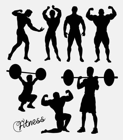 body building: Fitness, body building, gym, sport training silhouette. Good use for symbol, logo, web icon, sign, mascot, avatar, or any design you want. Easy to use.