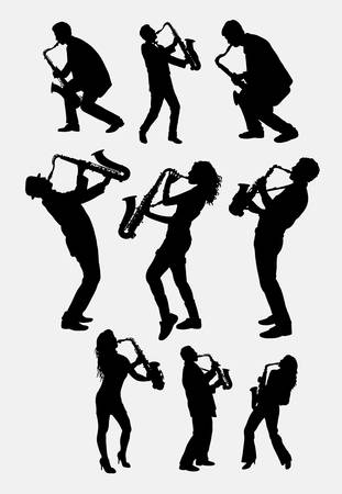 Saxophone instrument player silhouette. Male and female saxophonist poses. Good use ror symbol, logo, web icon, mascot, sticker design, sign, or any design you want. Easy to use. Vectores