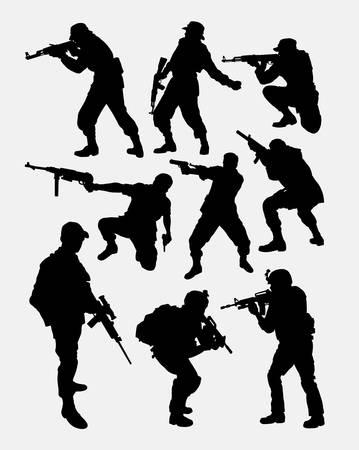 pistola: soldado del ejército pose con la silueta del arma del arma. Buen uso de símbolo, icono del Web, personaje del juego, elemento, muestra, mascota, o cualquier diseño que desee. Fácil de usar. Vectores