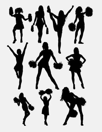 Girl cheerleader pose silhouette. Good use for symbol, logo, web icon, character, game element, sign, mascot, or any design you want. Easy to use. Фото со стока - 56326780