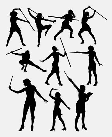 warrior pose: Girl with stick female extreme sport silhouette. Good use for symbol, logo, game character, element, mascot, sign, or any design you want. Easy to use.