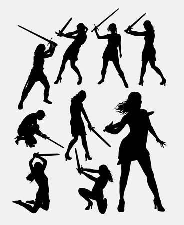 Warrior meisje met zwaard wapen silhouet. Goed gebruik voor symbool, logo, web pictogram, spelelement, mascotte, karakter, teken, of een ontwerp dat u wilt. Makkelijk te gebruiken. Stock Illustratie