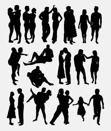 amor romántico pareja masculina y femenina silueta. Buen uso de símbolo, logotipo, icono del Web, carácter, mascota, diseño de etiqueta, o cualquier diseño que desee. Fácil de usar.