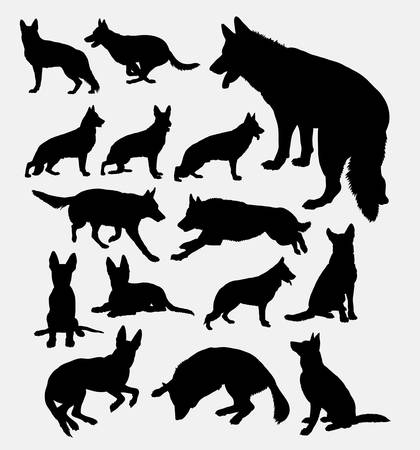 German shepherd pet dog silhouette. Good use for symbol, web icon, logo, mascot, sticker, sign, or any design you want. Easy to use.