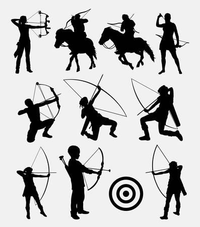 dardo persone tiro con l'arco silhouette maschile e femminile. Buon uso per simbolo, icona web, logo, segno, mascotte, o qualsiasi disegno che si desidera. Facile da usare.