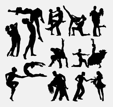 acrobatic: Happy dance couple male and female silhouette. Good use for symbol, web icon, logo. cutting sticker, silhouette, mascot, or any design you want. Easy to use. Illustration