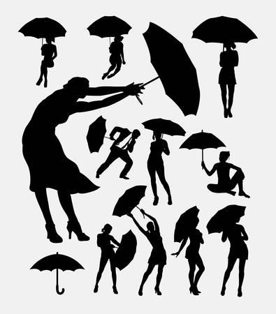 Mensen met een paraplu actie silhouet. Goed gebruik voor symbool, web pictogram, embleem, teken, mascotte, of een ontwerp, wil je. Makkelijk te gebruiken.