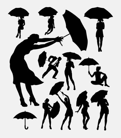 feminine: People with umbrella action silhouette. Good use for symbol, web icon, logo, sign, mascot, or any design, you want. Easy to use. Illustration