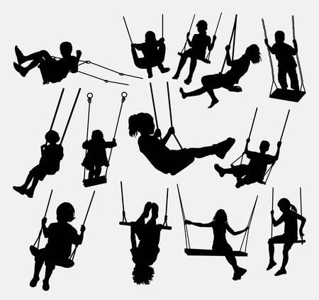 스윙 어린이 남성과 여성의 실루엣. 기호, 로고, 요소, 기호, 마스코트 또는 원하는 디자인에 적합합니다. 사용하기 쉬운. 일러스트