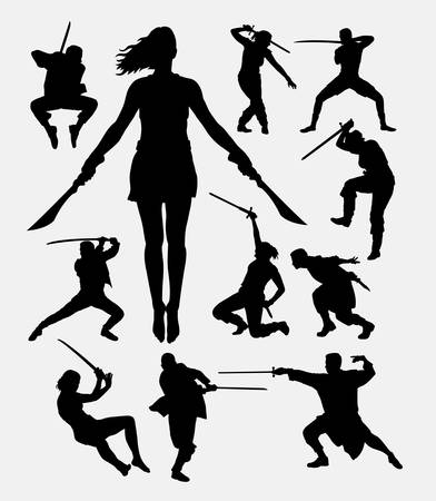 warrior pose: Warrior male and female with weapon silhouette. Good use for symbol, logo, web icon, mascot, sticker, sign, or any design you want. Easy to use.