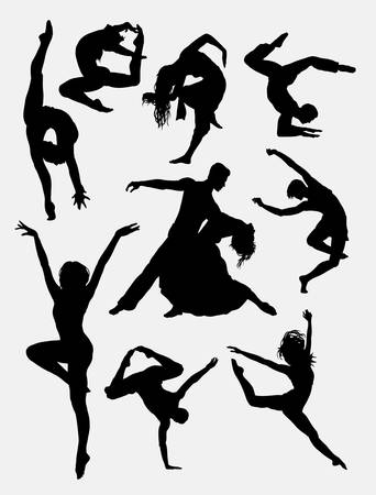 Contemporary dance, man and women action silhouette. Good use for symbol, logo, icon, mascot, or any design you want. Easy to use. Vectores