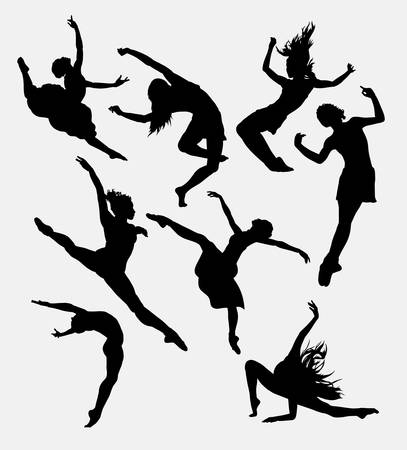 modern dancers: Contemporary dancer pose silhouette. Good use for symbol, icon, sign, sticker design, mascot, or any design you want. Easy to use.