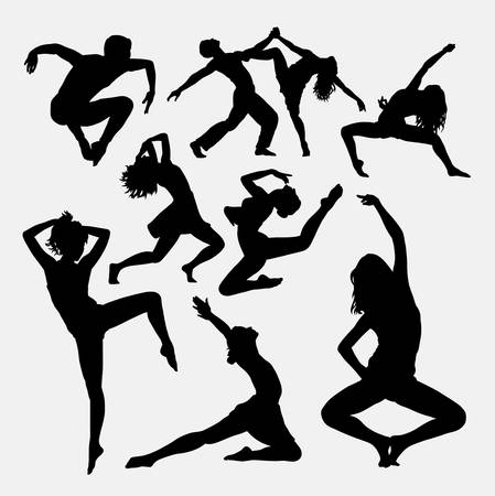 stretching: Dance activity. Male and female silhouette. Good use for symbol, icon, sign, sticker, sport event, dance competition, or any design you want.