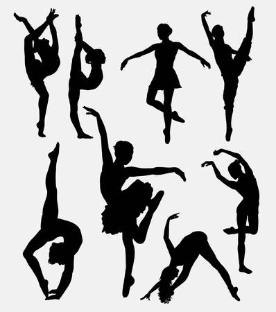 modern dance: Tradition and modern dance silhouette. Good use for symbol, icon, mascot, sign, sticker, or any design you want. Easy to use. Illustration