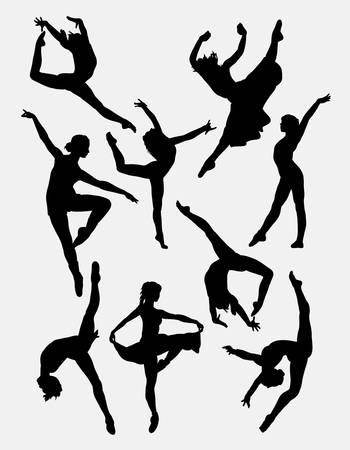 ragazze che ballano: danza tradizionale e moderna. Maschio e femmina posa silhouette. Buon uso per simbolo, icona, mascotte, o qualsiasi disegno che si desidera.