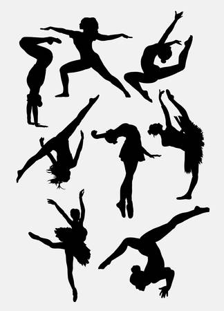 choreographer: Dancing show. man and woman pose silhouette. Good use for symbol, web icon, sign, or any design you want.