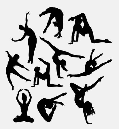 female pose: Happy dancing male and female pose silhouette. Good use for web icon, logo, symbol, mascot, clip art, sticker or any design you want. Easy to use.