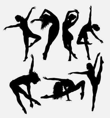 performing: Beautiful dancer pose performing silhouette. Male and female dance pose. Good use for symbol, logo, web icon, mascot, game elements, mascot, sign, sticker design, or any design you want.