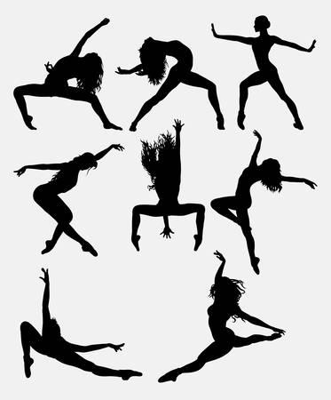 아름 다운 댄서 포즈 수행 실루엣. 남성과 여성 댄스 포즈입니다. 기호, 로고, 웹 아이콘, 마스코트, 게임 요소, 마스코트, 기호, 스티커 디자인 또는 원 일러스트