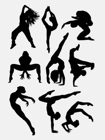 dancers: Beautiful dancer performing silhouette 1. Male and female dance pose. Good use for symbol, logo, web icon, mascot, game elements, mascot, sign, sticker design, or any design you want. Easy to use.