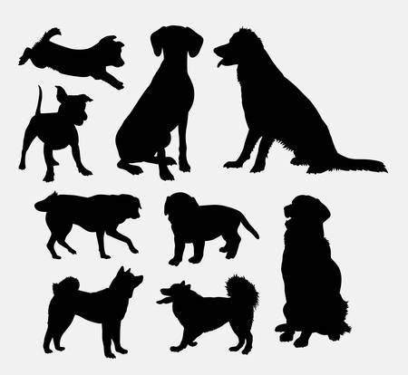 Dog pet animal silhouette 07. Good use for symbol, logo, web icon, mascot, sign, sticker design, or any design you wany. Easy to use Stock Illustratie