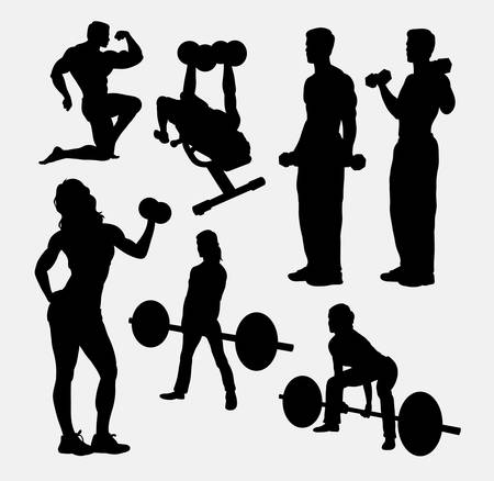 sports training: Fitness male and female activity silhouette. Good use for symbol, web icon, mascot, sign, sticker design, avatar, or any design you want. Easy to use