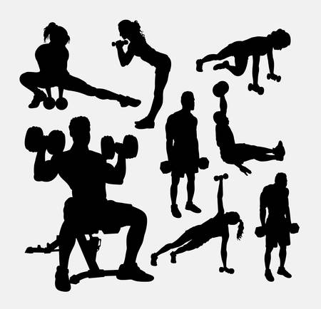 Training exercise sport male and female silhouette. Good use for symbol, web icon, mascot, sticker design, sign, avatar, or any design you want. Easy to use.