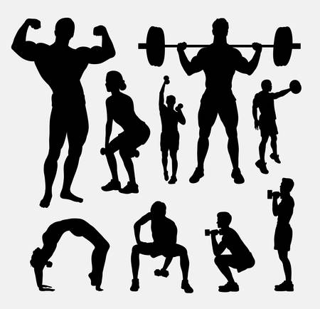 male body: Body builder male and female sport silhouette. Good use for symbol, web icon, mascot, sign, avatar, or any design you want. Easy to use.