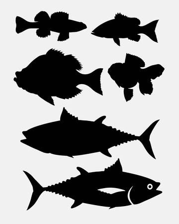 animal silhouette: Fish animal silhouette 3. Good use for symbol, web icon, mascot, sign, or any design you want. Easy to use. Illustration