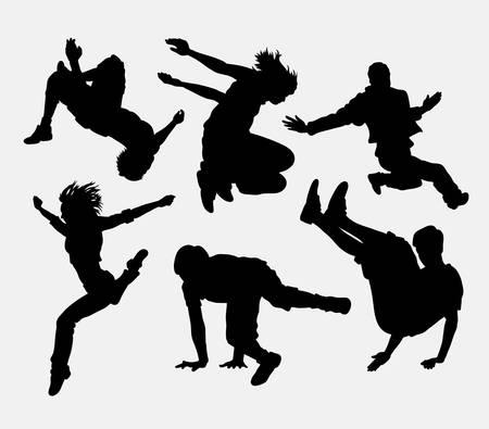 Parkour, Tänzer, Kampfkunst, Extremsport Silhouette. Gute Verwendung für Symbol, Web-Symbol, Maskottchen oder jede gewünschte Design. Einfach zu gebrauchen. Vektorgrafik