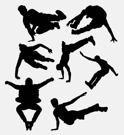 physically: Parkour, martial art, jumping, attraction, extreme sport silhouette. Good use for symbol, web icon, mascot, or any design you want. Easy to use.