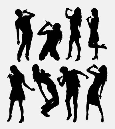 Piosenkarka płci męskiej i żeńskiej sylwetka. Ilustracje wektorowe