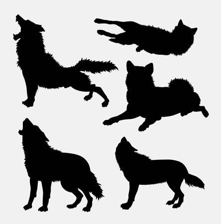 Loup animal sauvage et l'action silhouette. Bonne utilisation pour le symbole, icône web, mascotte, signe, avatar, ou d'un dessin que vous voulez. Facile à utiliser. Vecteurs
