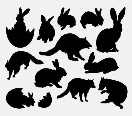 Conejo, huevo, mapache, evento Pascua silueta de los animales. Buen uso de símbolo, icono del Web, elemento de juego, muestra, mascota, parachoques, o cualquier diseño que desee. Fácil de usar.