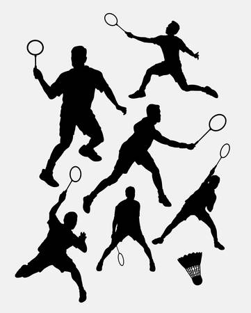 Badminton male sport player silhouette 1. Good use for symbol,  , web icon, mascot, sign, sticker, or any design you want. Easy to use.