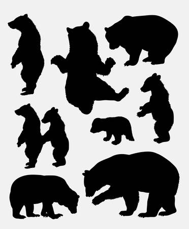 Bear wild animal silhouette 3. Good use for symbol,  , web icon, mascot, sign, sticker, or any design you want. Easy to use. Vettoriali