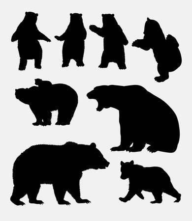 oso negro: Silueta del oso animal salvaje 4. El buen uso de símbolo,, icono del Web, mascota, señal, una etiqueta, o cualquier diseño que desee. Fácil de usar. Vectores