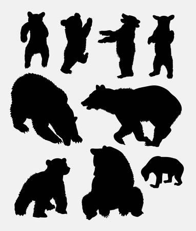 Silhouette de l'animal sauvage d'ours 5. Bon utilisation pour le symbole, l'icône web, la mascotte, le signe, l'autocollant ou toute conception que vous souhaitez. Facile à utiliser. Banque d'images - 66399115