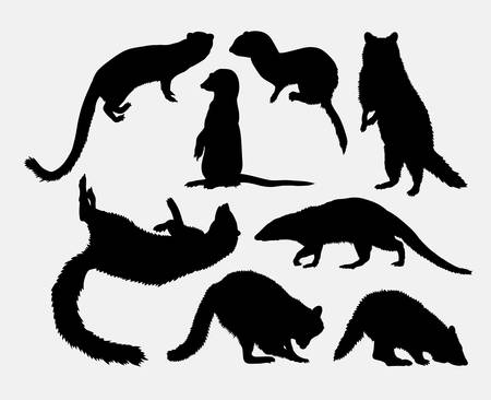 resizable: mongoose and racoon cute mammal animal. Good use for symbol,  , web icon, mascot, sign, sticker, or any design you want. Easy to use.