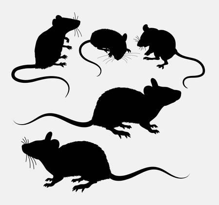 마우스 및 쥐 동물 실루엣입니다. 기호, 웹 아이콘, 마스코트, 기호, 스티커 또는 원하는 디자인에 적합합니다. 사용하기 쉬운.