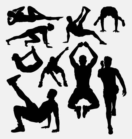 sit up: Pilates male and female sport activity silhouette. Good use for symbol,  , web icon, mascot, sign, sticker, or any design you want. Easy to use.