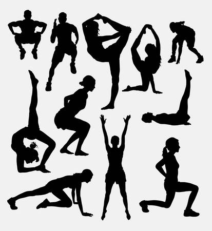 Pilates male and female sport activity silhouette. Good use for symbol,  , web icon, mascot, sign, sticker, or any design you want. Easy to use.