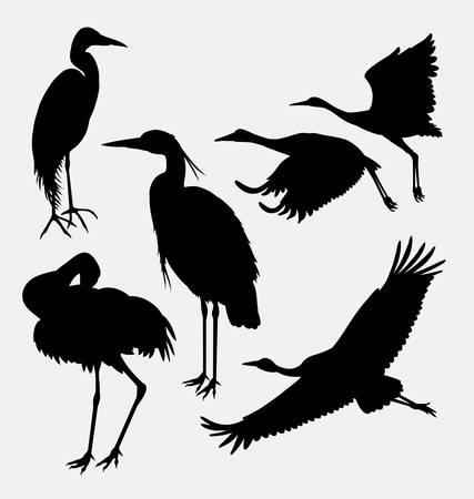 ooievaar, reiger, zilverreiger, en kraanvogel silhouet. goed gebruik voor symbool, web pictogram,, mascotte, of een ontwerp dat u wilt. Makkelijk te gebruiken Stock Illustratie