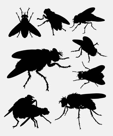 insect flies: Flies insect animal silhouette. Good use for symbol,  , web icon, mascot, sign, sticker design, or any design you want. Illustration