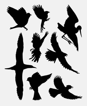 Vogel vliegende pluimvee dierlijke silhouet 2. goed gebruik voor symbool, web pictogram, mascotte, sticker of een ontwerp dat u wilt. Makkelijk te gebruiken. Vector Illustratie